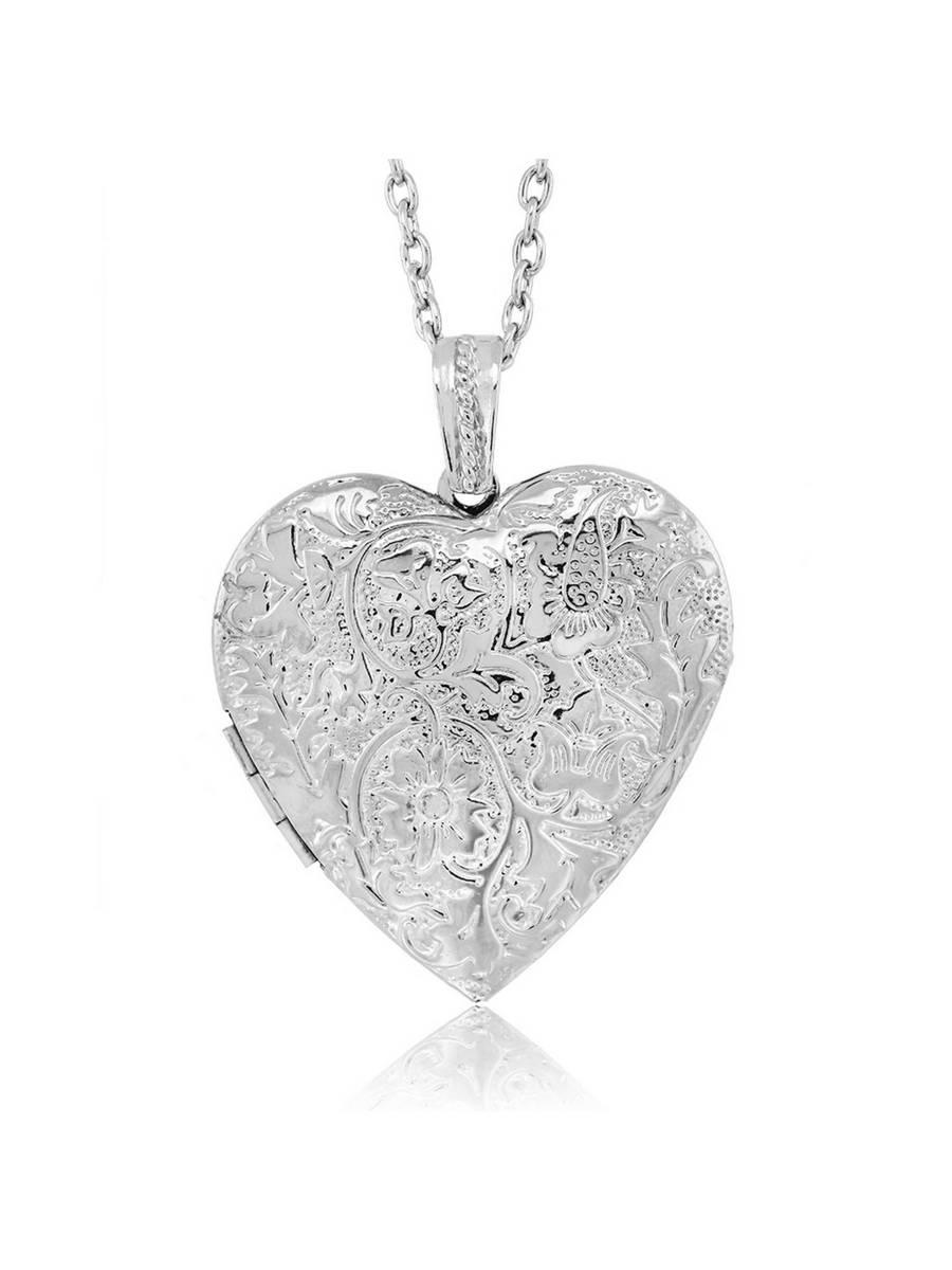 Locket Pendant Necklace Charm 1.5″ Engraved Flowers Heart Shape